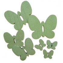 7 houten vlindermix groen
