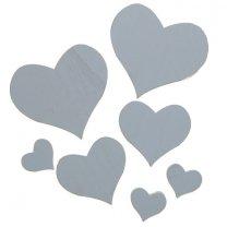 7 houten hartjes wit