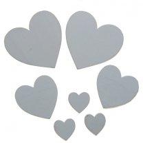 7 houten hartjes wit met ronde punt