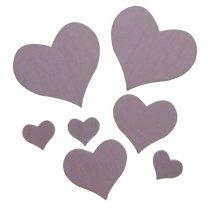 7 houten hartjes roze