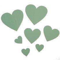 7 houten hartjes mintgroen