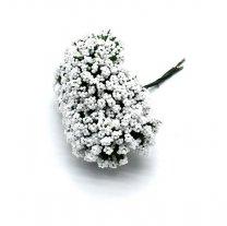 Weer op voorraad; Bundeltje foam bloemetjes wit, 8cm