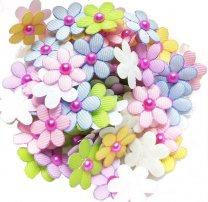 Stoffen bloemetjes gemengd, 15 stuks, 22mm