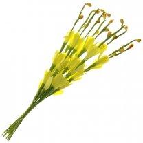 Bundel van gele bloemetjes en besjes, 10 stuks, 20cm