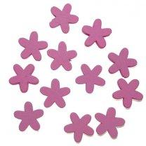Houten roze bloemetjes, 1,5cm
