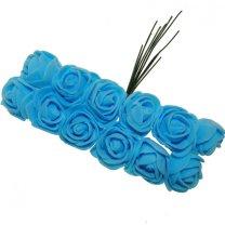 Foam roosjes lichtblauw 2cm, 12 stuks