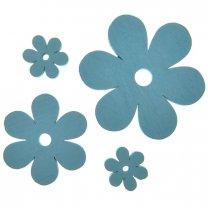 Lichtblauwe bloemen van hout, set van 4