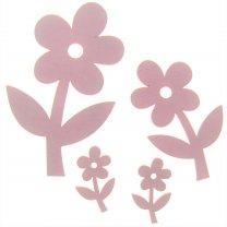Roze bloemen van hout, set van 4