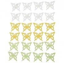 PRE- ORDER** week 5 leverbaar; Houten vlindermix wit-geel-groen, Setje van 24 stuks