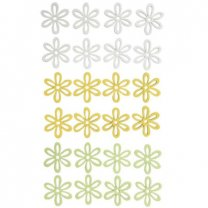Houten bloemenmix wit-geel-groen, Setje van 24 stuks