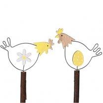 PRE-ORDER** week 5 leverbaar; Setje kippetjes met bloem en ei, 9.5cm