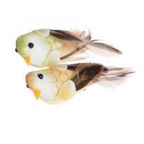 Vogel op de clip geel en lichtgroen, 2 stuks