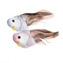 Vogel op de clip roze en lichtblauw, 2 stuks