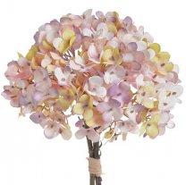 Boeket hortensia's roze-lichtgeel, 35cm