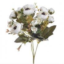 Bundel met creme-witte bloemetjes en Annemonen, 28cm