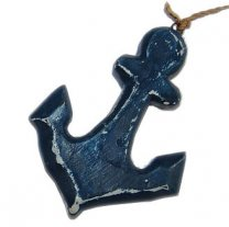 Houten anker blauw, 8cm