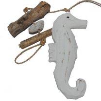Houten zeepaardje met drijfhout, 15cm