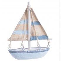 Zeilboot Lichtblauwblauw met gestreepte zeilen, 14cm