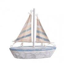 Houten Zeilboot met jute gestreepte zeilen, 16,5cm