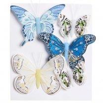 Met 30% korting! Set van 5 vlinders blauw-groen-geel, 8cm