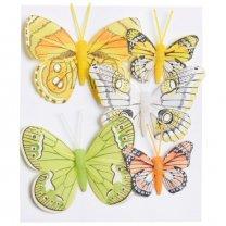 Met 30% korting! Set van 5 geel-groene vlinders, 8cm