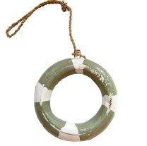 *Houten reddingsboei, grijsgroen wit, 7cm