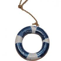 Houten reddingsboei, blauw wit, 7cm