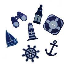Setje strandfiguurtjes blauw/wit, 7 stuks