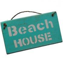 30% korting! LAATSTE STUKS! Rustiek geschuurd bordje; Beach house bordje, 25cm