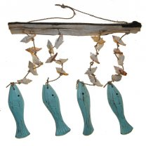 Hanger aqua vissen met schelpen, 30cm