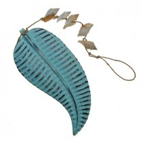 Hanger tropisch blad met schelpen, 40cm