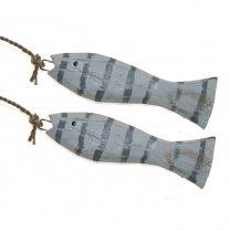 Grijs-wit houten visjes, 2 stuks, 8,5cm