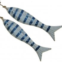 2 Blauw met wit gestreepte vissen, 16cm