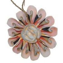 Schelpenhanger roze, per stuk, 9cm