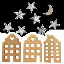 Houten huisjes naturel mix met sterretjes en maantje