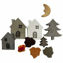 Setje met huisjes, kadootje en herfstblaadjes