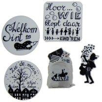 WEER OP VOORRAAD!! Set van 5 figuurtjes, Handlettering en monochrome decoratie, 6cm