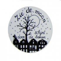 Handlettering plaatje; Zie de maan , 6cm