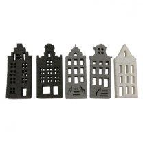 Setje vilten grijs-witte Amsterdamse grachtenhuisjes. 7cm