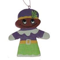Handgemaakte hanger Paars-groene Piet, 7cm