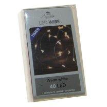 LED lichtsnoer zilver met TIMER 40 lampjes, 200cm