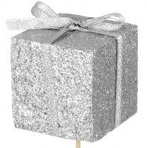 Kado foam glitter zilver, 5cm, laatste 6 stuks