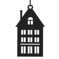 Zwart metalen huisje, puntdak met schoorsteen, 19cm