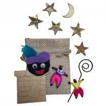 Gemengd setje met schoorsteen, pietjes, sterren en maan