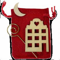 Rode jute zakje met huisje staf en maantje
