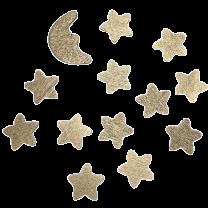 Setje houten gouden sterretjes met maantje