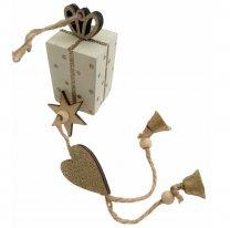 Feestelijke kado hanger wit met goud, 32cm