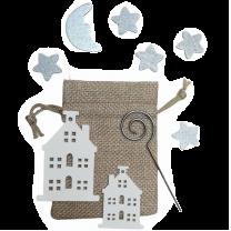 Gemengd setje met jute zakje, witte huisjes, staf, sterren en maan