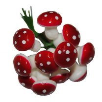 Bundeltje rode paddenstoelen, 1,5cm, 9 stuks