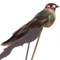 Vogeltje groen-oranje-bruin op steker, 11cm